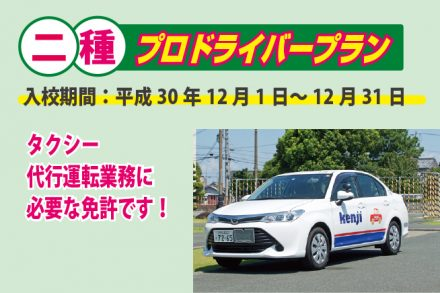 普通二種・プロドライバープラン【H30.12.1~12.31】