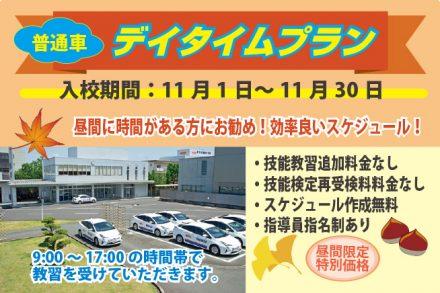 普通車・デイタイムプラン【R2.11.1~11.30】